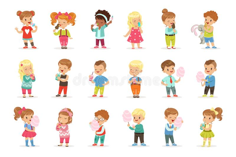 Set of little boys and girls drinking cocktails and eating sweets royalty free illustration