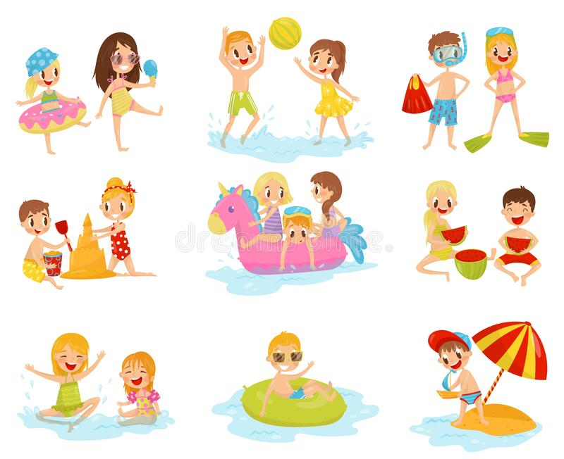 Flat vector set of little children in different actions. Playing with inflatable ball, building castle from sand. Set of little children in different actions stock illustration