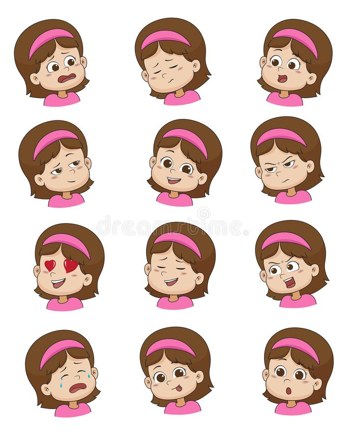 Set of Little girl face expression,vector illustrations isolated vector illustration