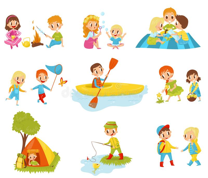 Flat vector set of little kids doing different activities. Fishing, cooking marshmallow on fire, picking flowers stock illustration
