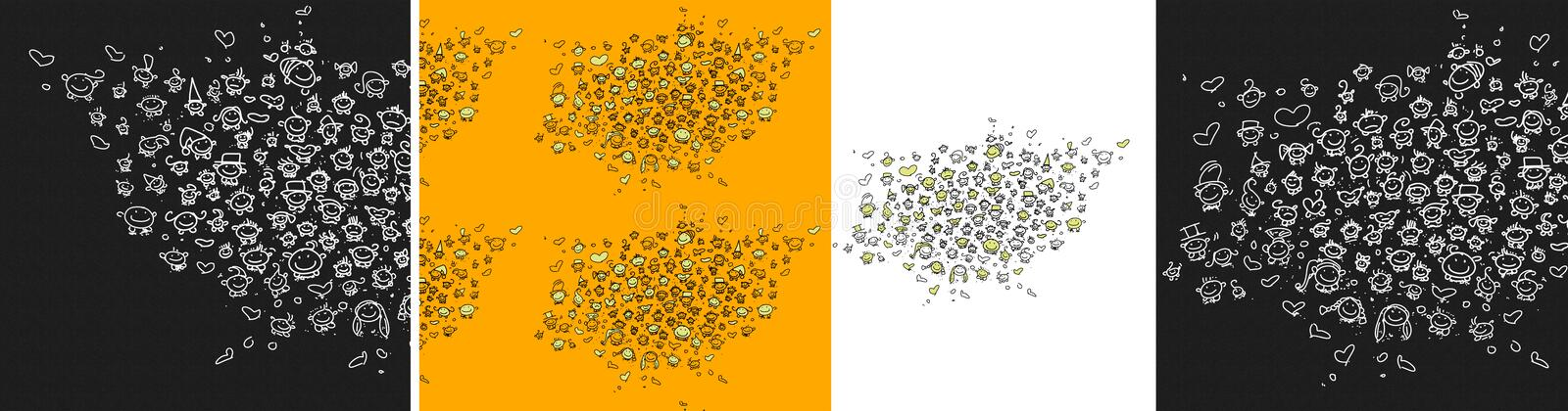 A set with 50 little smileys, with funny and tender expressions For your site buttons. vector illustration