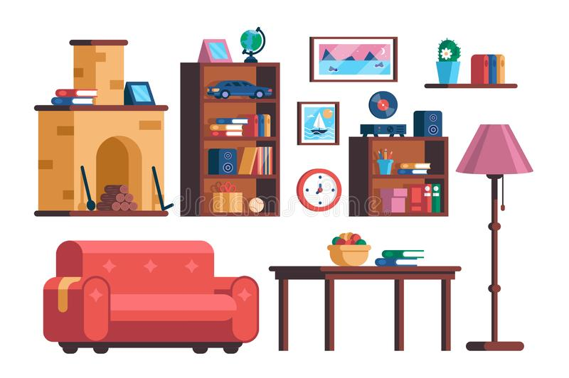 Set living room interior furniture collection vector illustration