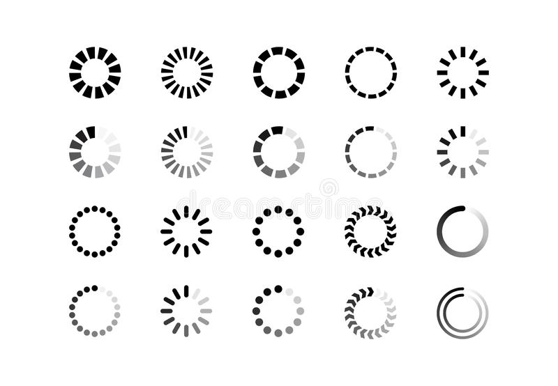 Set loading bar progress icons isolated on white background royalty free illustration