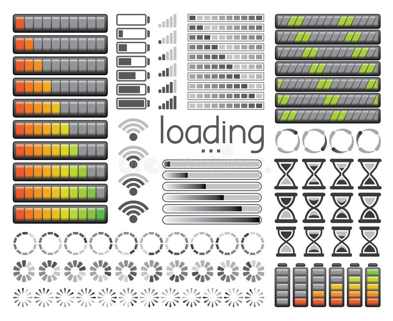 Set of loading bars, battery charge levels and wifi signal strength. Vector illustration. Set of various loading bars, battery charge levels and wifi signal vector illustration