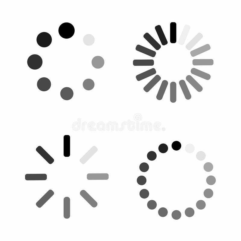 Set Loading icon. Download sign. Collection of simple web download royalty free illustration