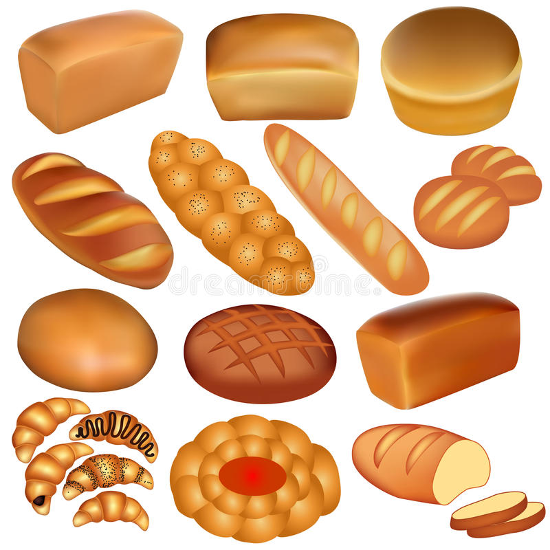 Set Of Loaves Of Bread And A White Stock Images