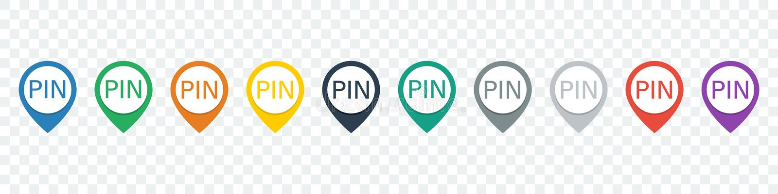 Set of location pin. Map pointers. Pin icons. Pointer icons royalty free illustration