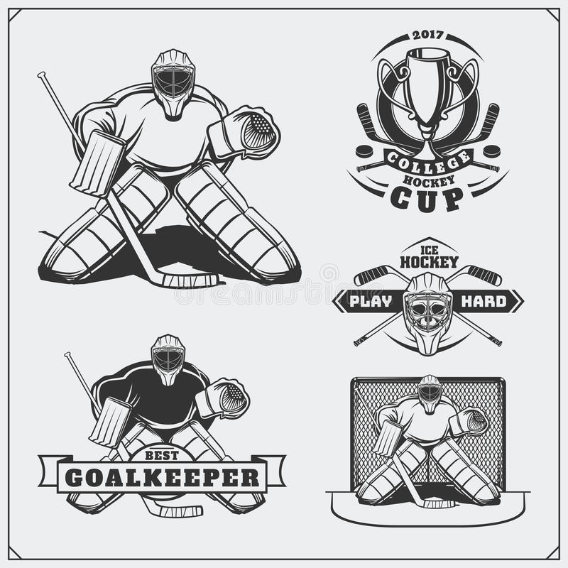 Set lodowego hokeja etykietki, emblematy, ikony, odznaki i projektów elementy, royalty ilustracja