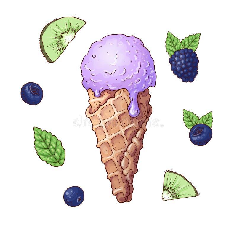 Set lody z owoc wliczając truskawki, kiwi, czarna jagoda w gofrze konusuje odosobnioną wektorową ilustrację royalty ilustracja