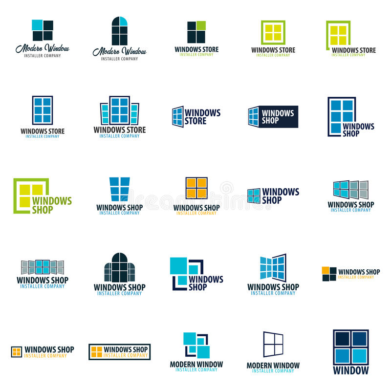 Set loga Windows sklep Installer firma również zwrócić corel ilustracji wektora ilustracji