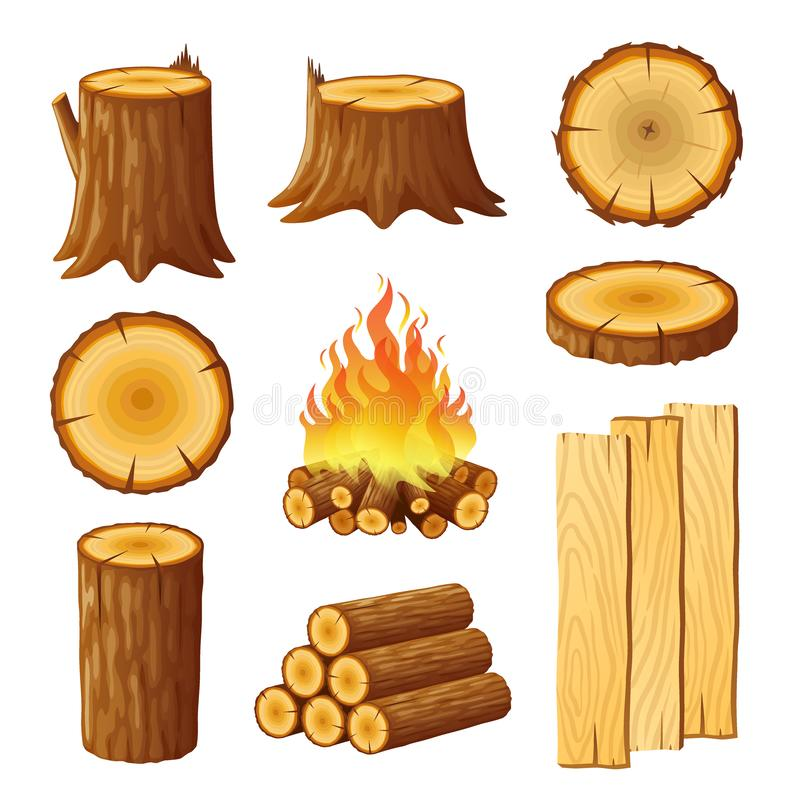 Set of logging, stumps and boards, woodpile and wood logs royalty free illustration