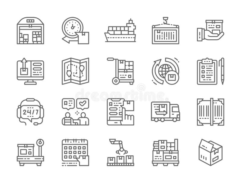Set of Logistics and Delivery Line Icons. Warehouse, Cargo, Container and more. Set of Logistics and Delivery Line Icons. Warehouse, Cargo Ship, Container royalty free illustration