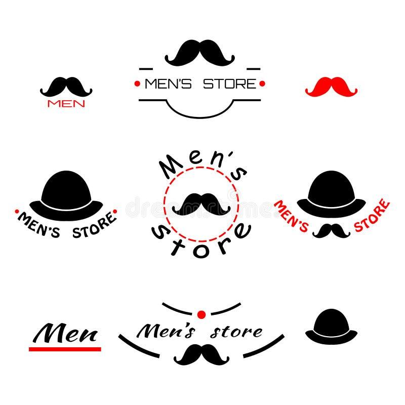 Set logo, emblemat i brend z tekstem roczników mężczyzna sklepu, ilustracja wektor