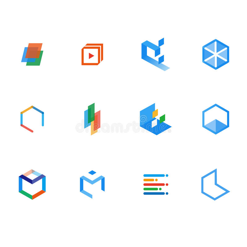 A set of logo for learning, resources, and teaching stock illustration