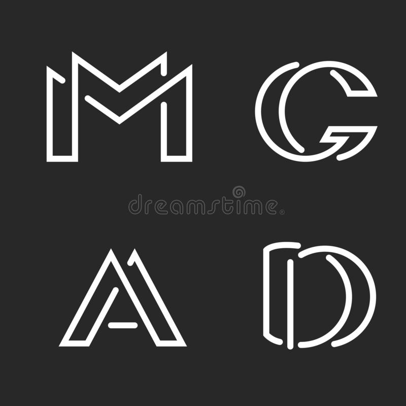 Free Set Logo M, D, A, G Letters Monograms Logos, Group Creative Linear Marks, Overlapping Black And White Thin Lines Business Or Royalty Free Stock Photos - 141062068