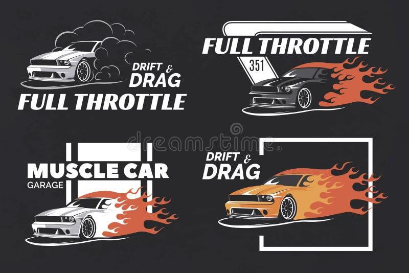 Set logo, odznaki i emblematy na ciemnym grunge tle mięśnia, ilustracji