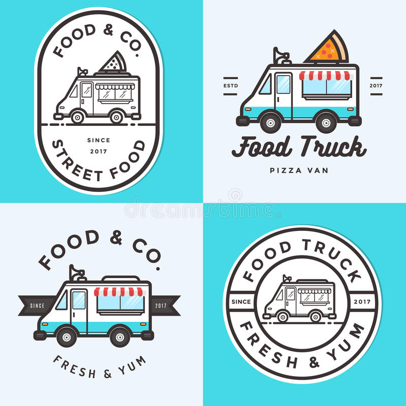Set logo, odznaki, sztandary, emblemat dla jedzenie ciężarówki festiwalu fast food dostawa ilustracja wektor
