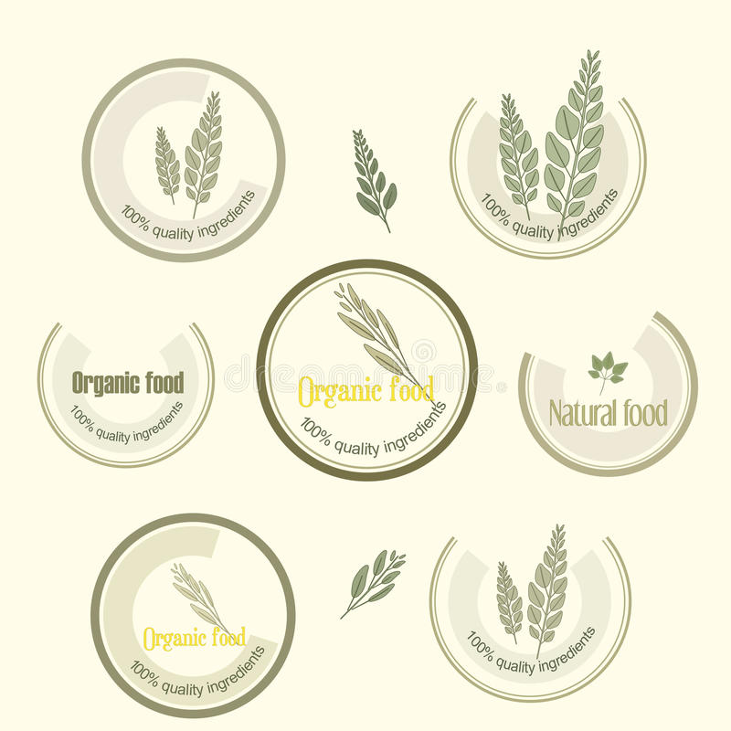 Set logo for organically grown food, vector. Set logo for organically grown food, quality products, natural, healthy and clean, in vector format vector illustration