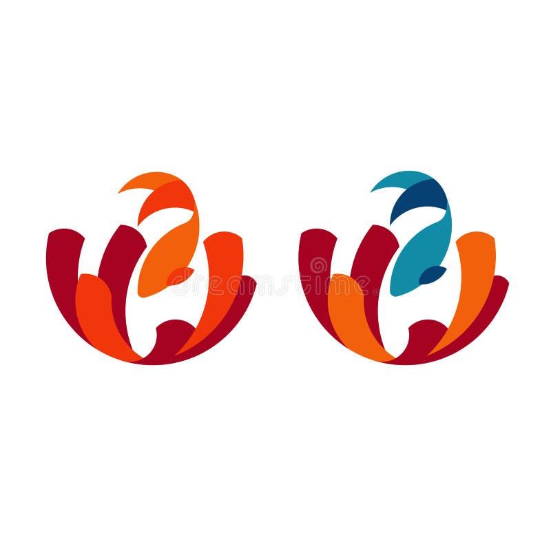 Set logo ryba z koralami ilustracji