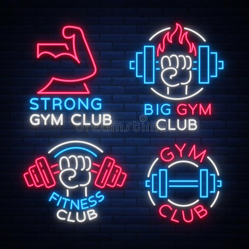 Set of logo signs on fitness theme, bodybuilding in neon style , vector illustration. Glowing banner, a bright vector illustration
