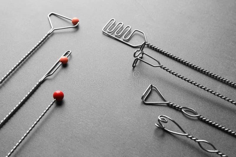 Set of logopedic probes for speech correction stock image