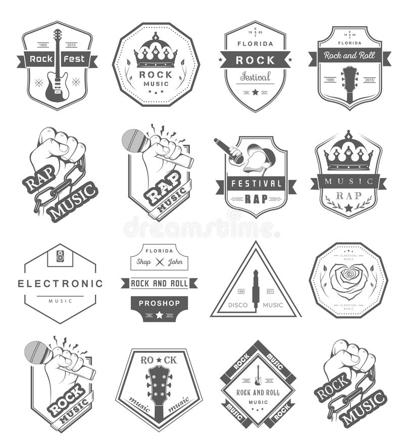 Set of logos and badges music stock illustration