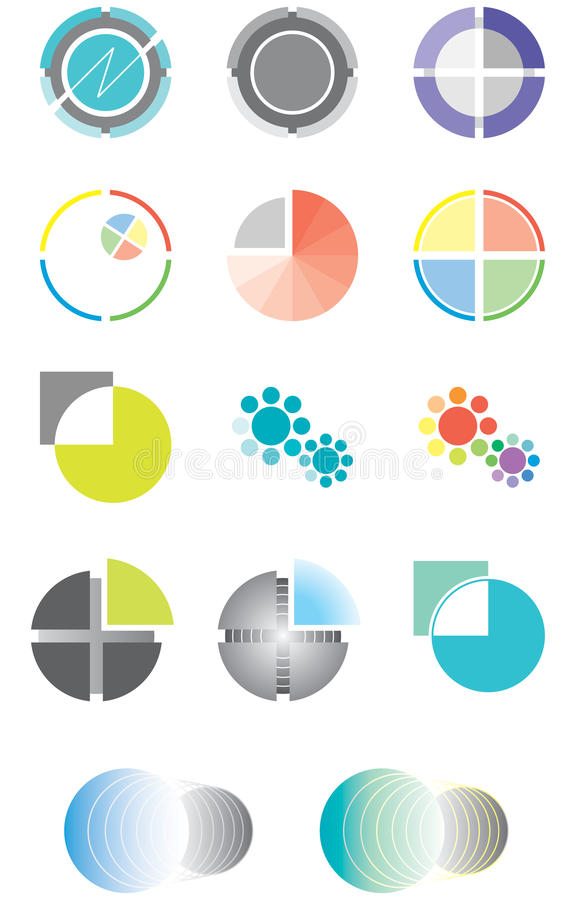 Download Set Of Logos On The Basis Of A Circle Stock Vector - Illustration of flowers, isolated: 16294692