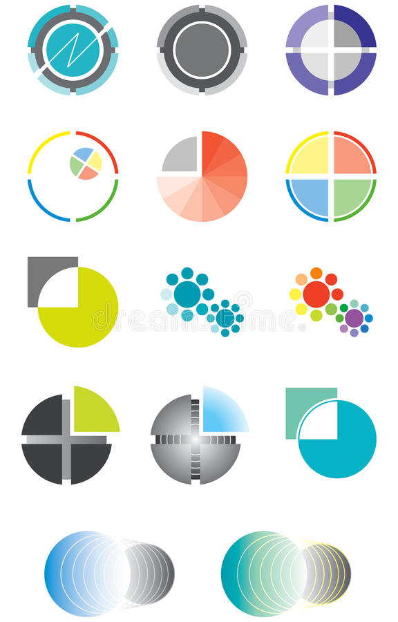 Download Set Of Logos On The Basis Of A Circle Stock Vector - Image: 17220019