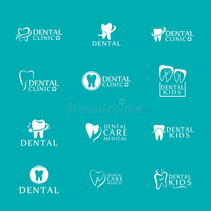 Set of logos dental care clinic, dentistry for kids. Teeth abstract icons. Can be used as logo for dental, dentist or stomatology clinic, teeth care and health royalty free illustration