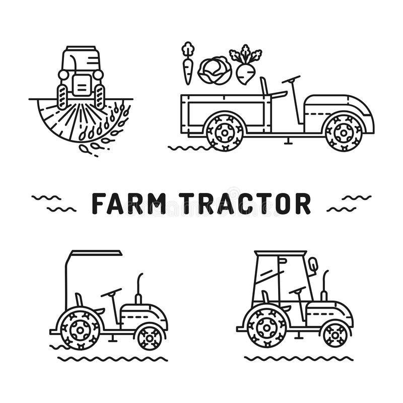 Set logos farm tractor line art style Agriculture machines vector. Set logos farm tractor on a white background, icons in the line art style. Agriculture stock illustration