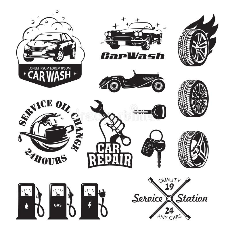 Set of logos and icons relating to service station car: oil chan stock illustration