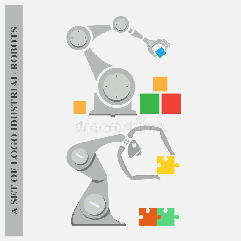 A set of logos industrial robots on a white background stock photos