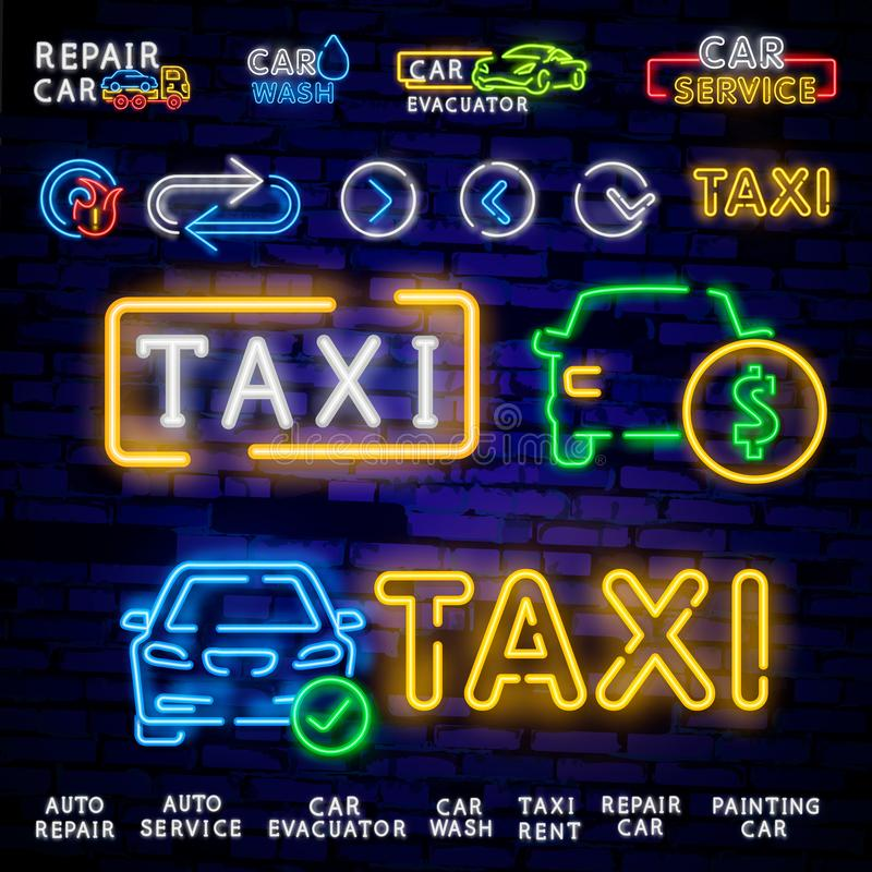 Set logos in neon style Transportation. Design Template, Neon Signs Collection, Auto Service, Garage, Racing Club, Car Wash, Taxi stock illustration