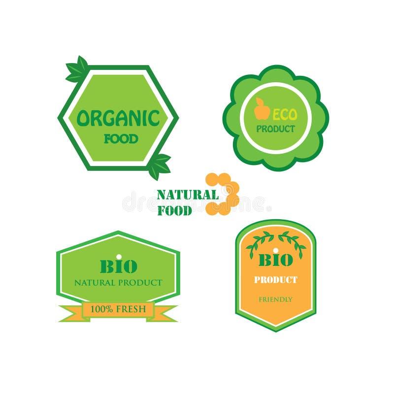 Set of logos for organic and natural food royalty free stock photo