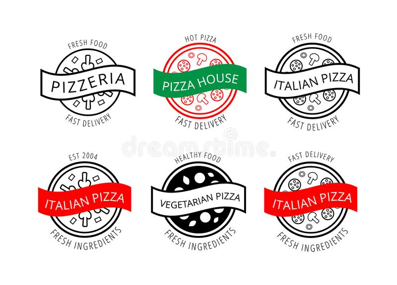 Set of logos for pizzeria, cafe, restaurant, delivery, bakery. Black, white, red and green outline emblems with food icons and royalty free illustration