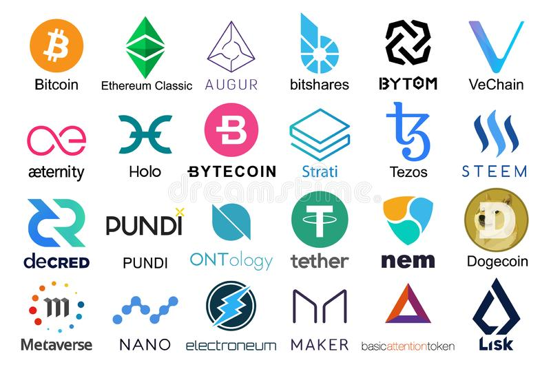 Set of logos popular cryptocurrencies vector illustration