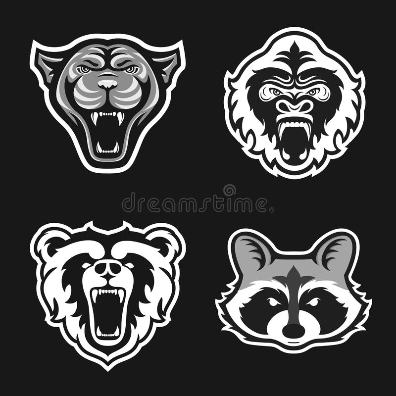 Set of logos for sport team. Panthers, Gorillas, Bears, Raccoons. Animal mascot logotype. Template. Vector illustration. stock illustration