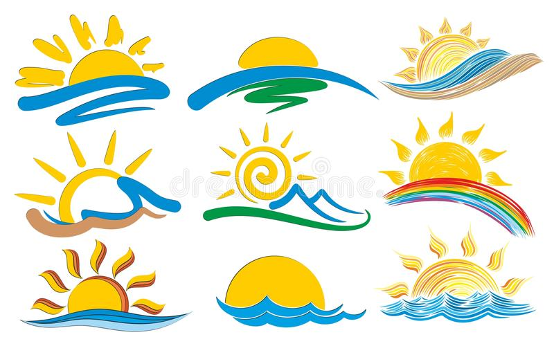 Set of logos with the sun. vector illustration