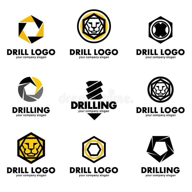 Set of logos for the tool, drill bit, drilling.Vector illustration. Set of logos for the tool, drill bit, drilling royalty free illustration