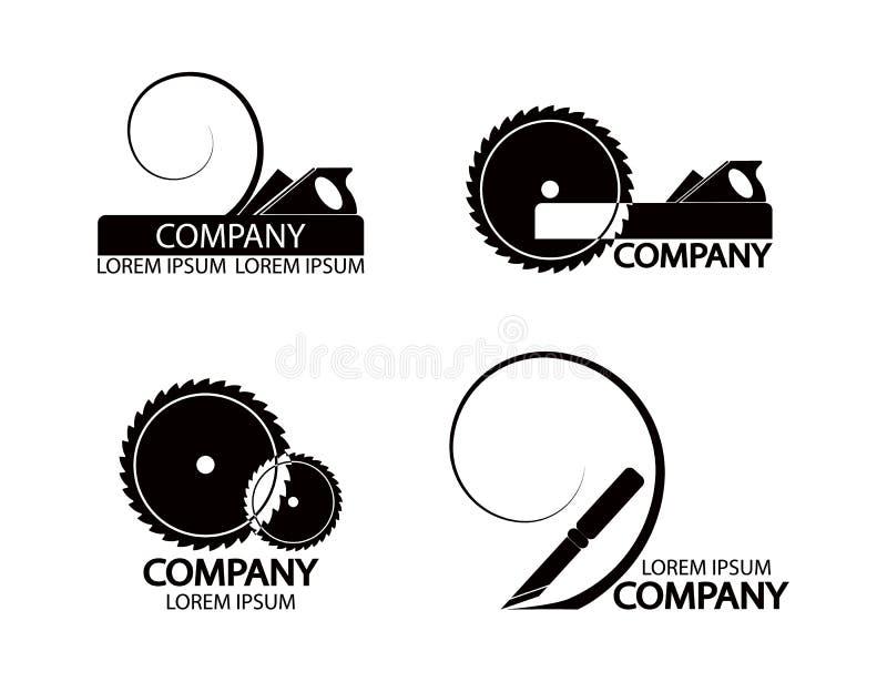 Set logowie, emblematy joiner narzędzia royalty ilustracja
