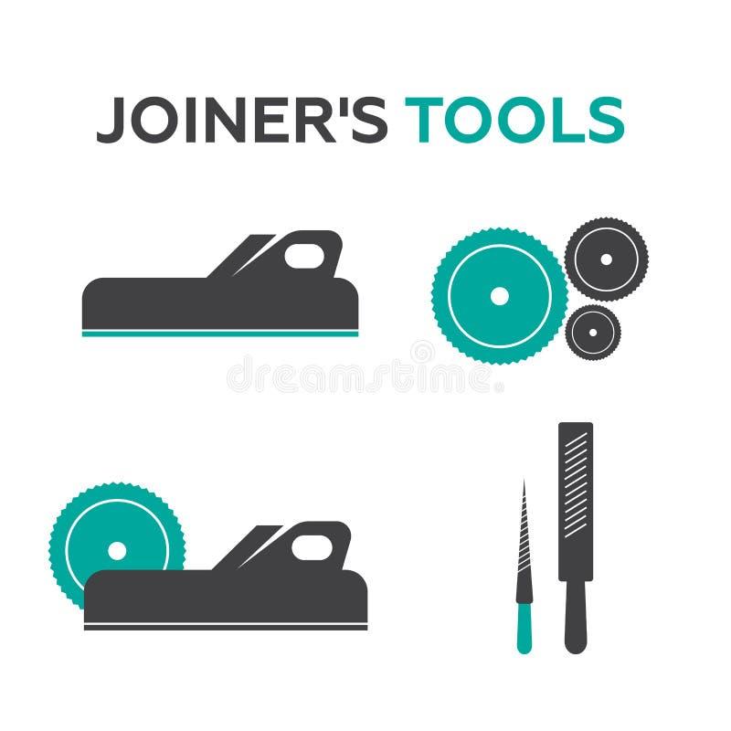 Set logowie, emblematy joiner narzędzia ilustracja wektor