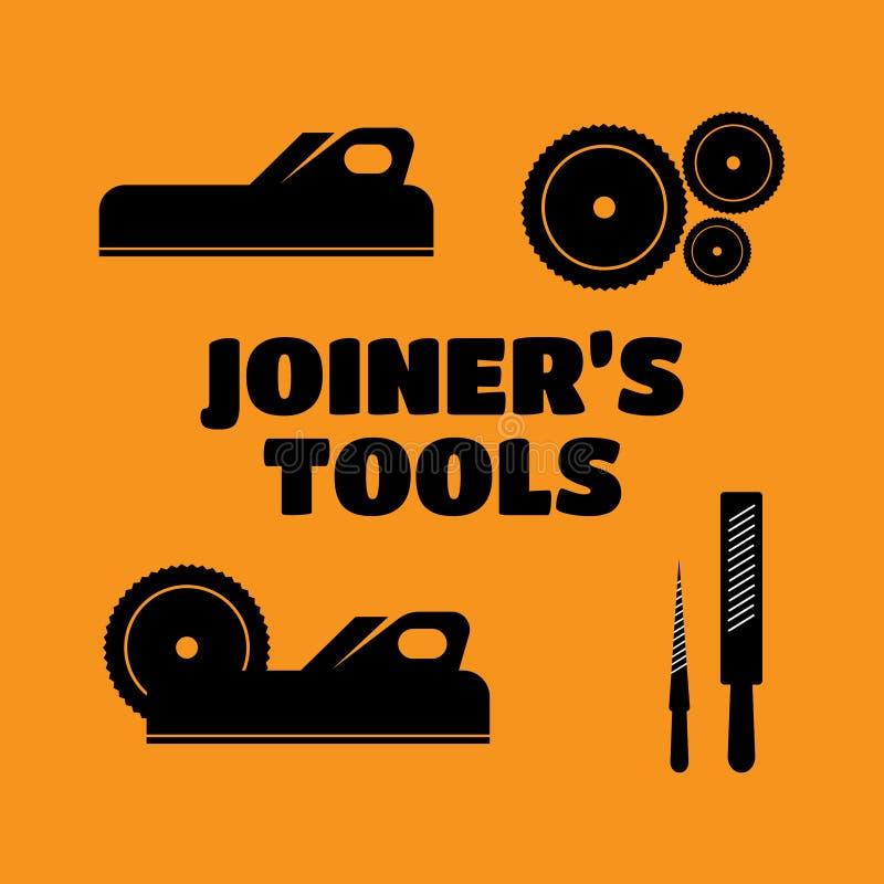 Set logowie, emblematy joiner narzędzia Joiner wytłacza wzory v ilustracja wektor