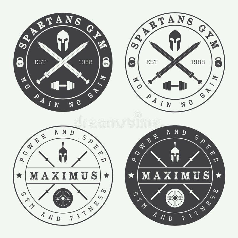Set logowie, etykietki i emblematy rocznika gym, ilustracji