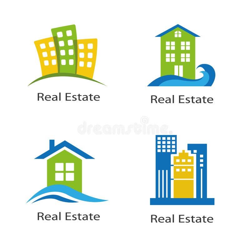 Set logowie nieruchomość ilustracja wektor