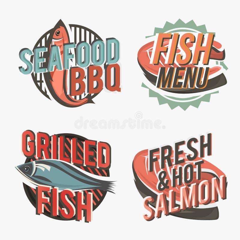 Set logowie z piec na grillu łososiem również zwrócić corel ilustracji wektora ilustracji