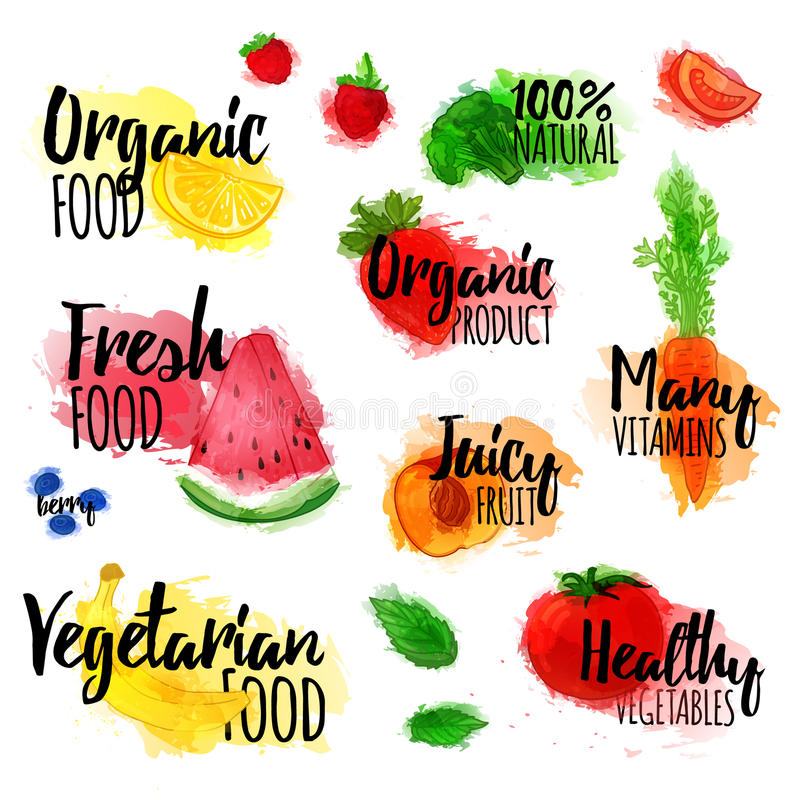 Set logowie, znaczki, odznaki, etykietki dla naturalnych produktów, zdrowy jedzenie, organicznie Owoc, jagody i warzywa elementy, royalty ilustracja