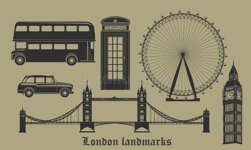 Set of London landmarks, Britain symbols isolated vector illustration