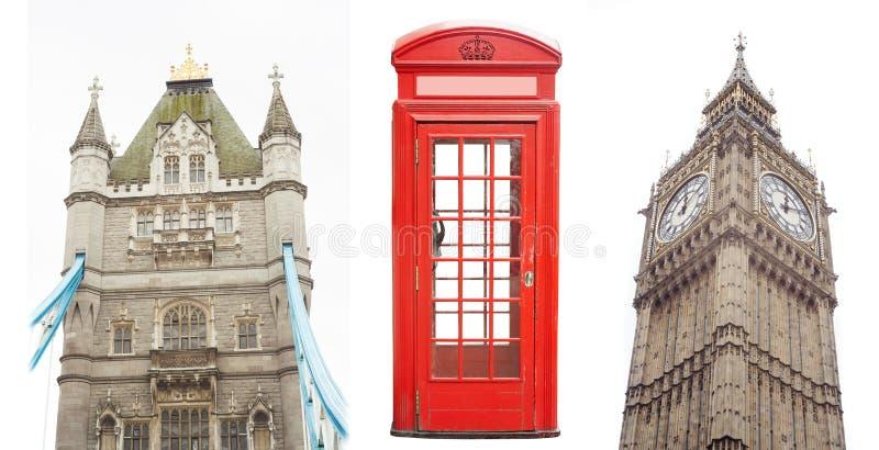 Set Londyńscy miasto punkty zwrotni jako most, telefoniczny budka i Big Ben, zdjęcie royalty free