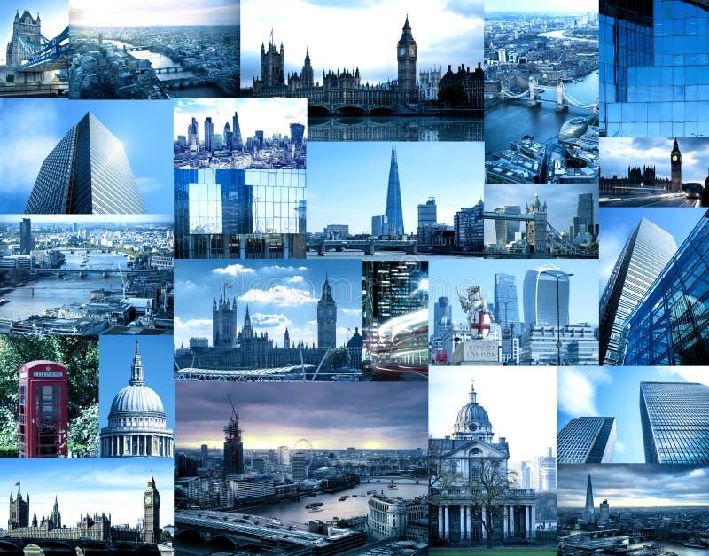 Set Londyńskie fotografie, reprezentuje miasto Big Ben, Thames rzeka, wierza przerzuca most, Canary Wharf, St Paul ` s katedra, obrazy royalty free