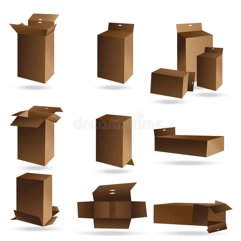 Set of long cardboard boxes for packaging small products. Vector stock illustration